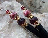 Pair of Red Rose Tensha Hair Sticks with Siam Red Crystals and Glass - Darlene
