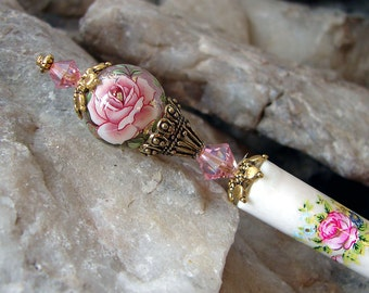 Pink Rose Floral Japanese Tensha Hair Stick Swarovski Flower Geisha Hair Sticks Hairsticks Kanzashi Hair Pins Hair Chopsticks - Genevieve