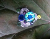 Sabine Bindi, re-useable bellydance / festival forehead gem, silver, green and blue