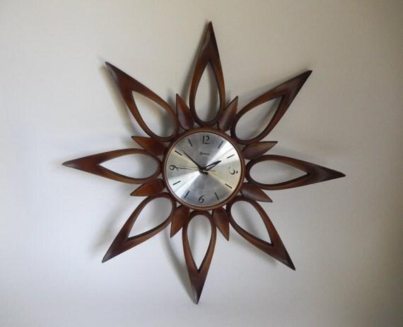 Mid Century Syroco Starburst Sunburst Wall Clock By Joeblake