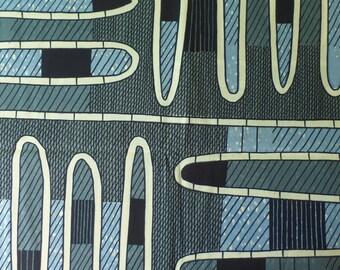 African Wax Dutch Fabric in Blue Geometric Pattern
