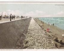 Sea Wall & Beach Galveston Texas 1911 Phostint postcard
