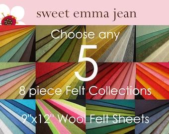 Choose any 5 eight piece Felt Collections - High Quality Wool Felt Assortments