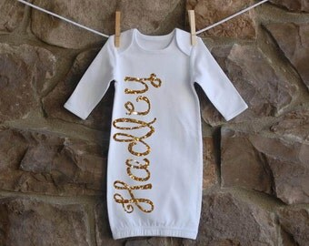 Name Baby Gown Sparkle Glitter Baby Girl Gown  Coming Home Outfit  Shower Gift