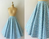 Vintage 1950s Skirt - 50s Turquoise Blue Circle Skirt - Off the Grid