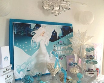 Snow Queen and Ice Princess Party Backdrop Design digital Printable JPGfile- INSTANT DOWNLOAD Frozen inspired