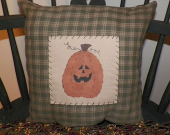 UNSTUFFED Fall Pillow Primitive Pumpkin Decoration Harvest Painted Handmade Country Home Decor Jack O Lantern Seasonal Green wvluckygirl