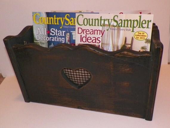 sale vintage wood magazine holder primitive home by top 100 interior design magazines that you should read