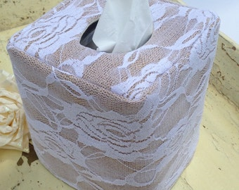 White Lace Burlap natural tissue box cover