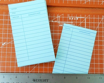 Library cards set of 20 check out cards Light Blue