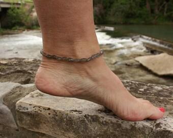 Labradorite Anklet, Ankle Bracelet, Labradorite Ankle Bracelet, Minimalist, Labradorite Jewelry, Gemstone Anklet