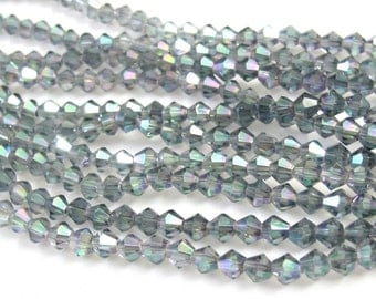 1 Full strand - 16 inches Faceted bicone AB smokey blue grey crystal glass beads 4 mm size - AB031
