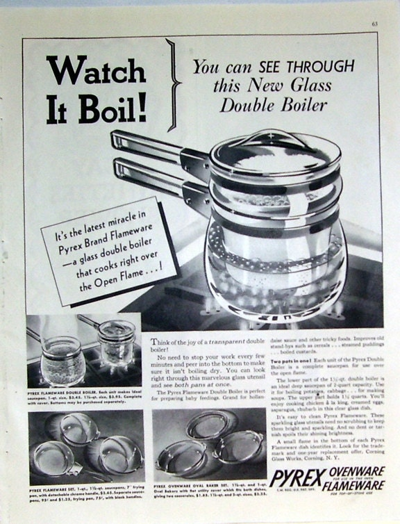 1937 Pyrex New Glass Double Boiler Magazine Print Page