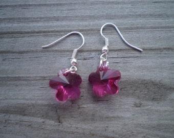 Fuschia Swarovski Flower Crystal French Hook Earrings