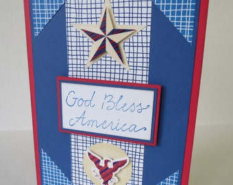God Bless America Stars and Eagle Blank Fourth Of July Card
