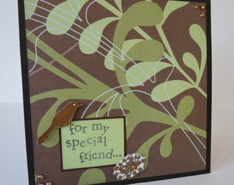 For My Special Friend Green Leaves Christian Card With Scripture