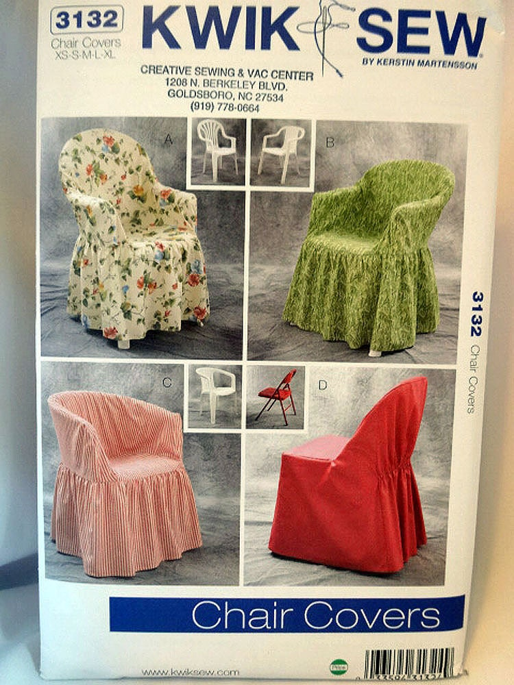 Kwik Sew 3132 Chair Covers Sewing Pattern Patio Chair