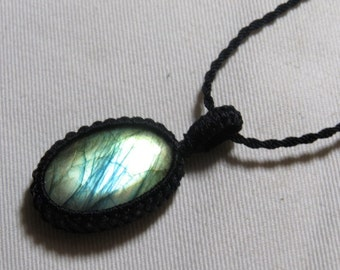 Labradorite - Marcrame Pendant - So Nice Full Flash Fire Oval shape Pendant - Stone size 23x33 mm Approx