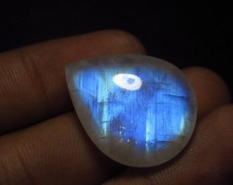 Beautifull - AAAA - High Quality Rainbow Moonstone Smooth Pear Briolett Focal - Full Flashy Blue  Fire Huge Size  - 20x25 mm Drilled