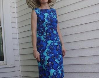 60s Blue Hawaiian Dress Hibiscus Print Hawaii Sleeveless 1960s Retro S
