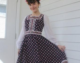 Black Floral Prairie Dress Vintage 70s Gunne Style Country Print Folk XS