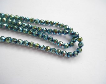 Gemstone Beads, Faceted Blue Pyrite Gemstone Spacer Bead,  Rondelle Bead 4 mm 1/2 strand about 50pcs