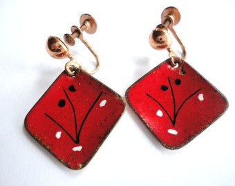 Mid Century Modern Copper Enamel Abstract Earrings