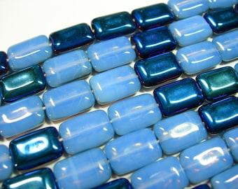 Czech Glass Blue Opal Azuro Rectangles 8x12mm - 24 beads