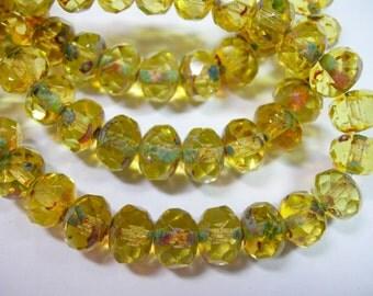 25 8x6mm Jonquil Yellow Travertinne Czech Fire polished Rondelle beads