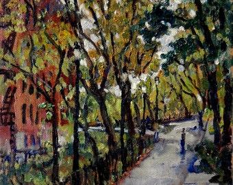 Near Broadway, The Isham Park Alley, Inwood NYC. Original Oil Painting on Canvas, 10x8 Impressionist Plein Air Fine Art, Signed Original