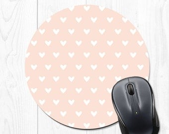 Mousepad - Pink Mouse Pad - Heart Mousepad - Heart Mouse Pad - Pink Mouse Mat - Pink and White Mouse Pad - Heart Mouse Mat
