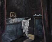 Bath Tub Painting - Dutch Bath Tub Painting - Original Oil Painting - Dutch Bath Tub - Dutch Oil Painting - Netherlands Bath Tub Painting
