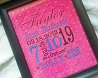 Baby shower gift - Birth info square wall decor - Minky decor