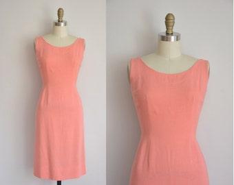 1960s dress/vintage 60s dress/ peach pink linen wiggle dress