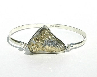 NEW Pyrite Druzy Bangle / Sterling Silver / Gold / Gray / Modern Jewelry / Boho /Geometric Bracelet / OOAK