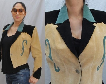 Cowgirl Chic Suede Jacket, Cropped Tapered Fit, Western Rockabilly, Scully Vintage 80s