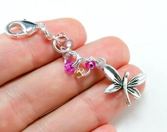 Dragonfly Charm. Cute Beaded Keychain. Silver Dragonfly Keychain. Custom Keychain.BRC012