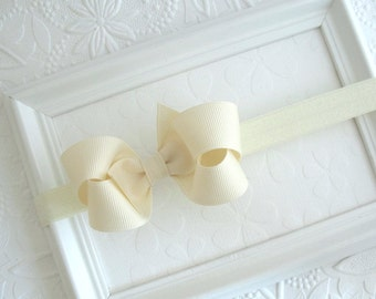 Ivory Baby Bow Headband, 3 inch Ivory Boutique Bow on Stretch Headband for Newborns, Infants, Babies, Girls ~ Baby Girl Ivory Bow Headband