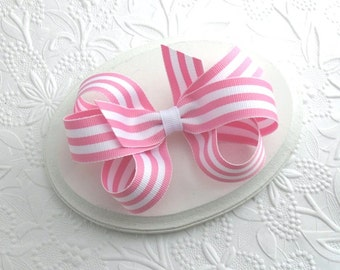 Preppy Pink and White Stripe Boutique Bow for Girls, Toddler Hair Clips, Pinwheel Bow