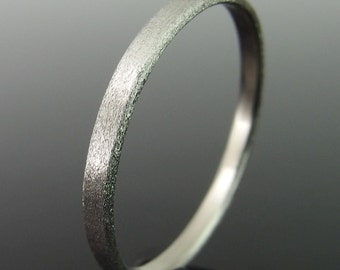 14k White Gold Wedding Ring, Flat Profile White Gold Wedding Band, White Gold Wedding Ring, 14k Gold Ring, Heavily Brushed Finish, 2 x 1 mm