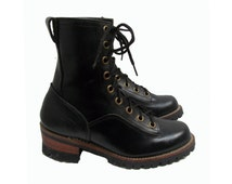 NaNa Logger Boots Vintage NaNa Industrial Strength Black Leather Vibram Sole Work Boots Mens Size 7 / Womens Size 8 Made In The USA