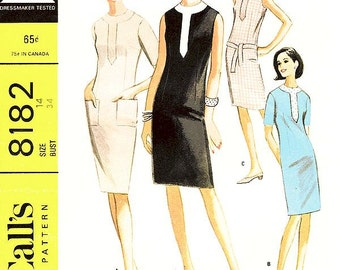 Misses' One-Piece Dress In Four Versions - Sz 14/Bust 34 - Vintage 1960s Dress Pattern - McCall's 8182