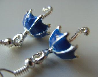 Mary Poppins, Umbrella, Earrings, Royal purple blue, silver,  by NewellsJewels on etsy