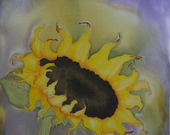 Hand Painted Sunflower on Cotton Fabric  Quilt Block  Fabric Panel Pillow Panel