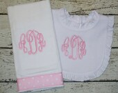 Classic Ruffled Bib and Burp Cloth Gift Set with Three Letter Monogram for Baby Girl