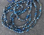 Lapis lazuli tiny blue round beads, 3 strands, clearance price, destash