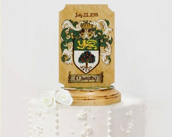 Family Crest Wedding Cake Topper, Rustic, Coat of Arms, Custom Personalized