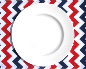 July 4th Placemats - Red White & Blue Placemats - Chevron Placemats - Patriotic Placemats - Set of 4