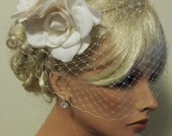 Ivory Fascinator, Wedding Fascinator, Bridal Hair Clip, Flower Fascinator, Gardenia Flower Hair Clip, WITH French Net Bridal Veil 2 pc set