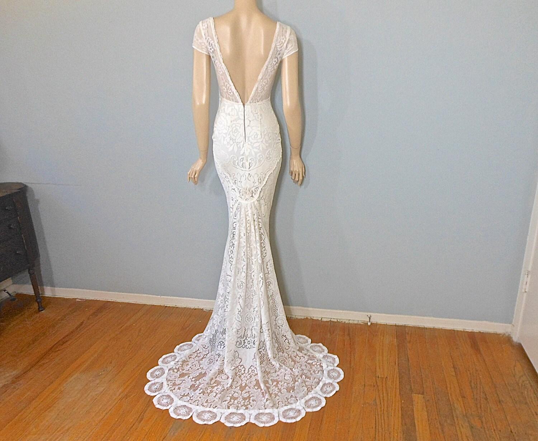 Crochet Lace WEDDING Dress ROMANTIC Boho Wedding Dress SIMPLE